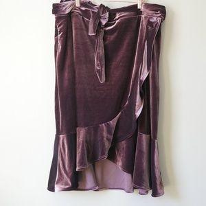 Gap Velvet Wrap Skirt